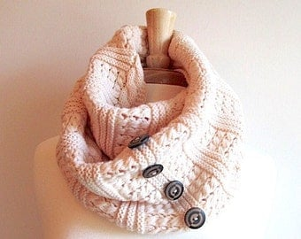 Cable Knit Neck Warmer Cowl Infinity Loop Scarf with Buttons Knitted Neckwarmers Beige Cream Peach Color Women Girls Fall Winter Accessory