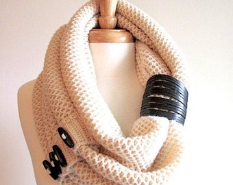 Infinity Knit Scarf with Black Buttons and Leather Cuff Neck Warmer Cream Scarves Women Girls Accessories