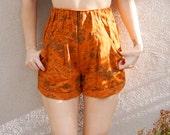 80's 90's Burnt Orange Floral Shorts, Abstract Orange Shorts, High Waisted Shorts, Elasticized Waist, Unique Vintage