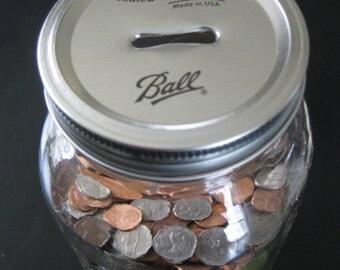 Mason Jar Bank Coin Cap