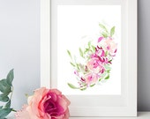 """Abstract Pink Rose Garland - 8""""x10"""" Watercolor Fine Art Print"""
