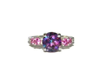 Mystic Topaz Ring, Ring With Purple and Pink Stones, Size 7 Ring