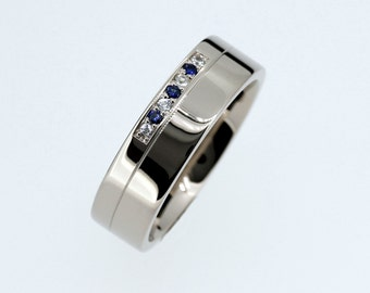 Blue sapphire and diamond wedding ring, white gold, wedding band, men, mens modern ring, man diamond band, gold wedding band, men blue ring