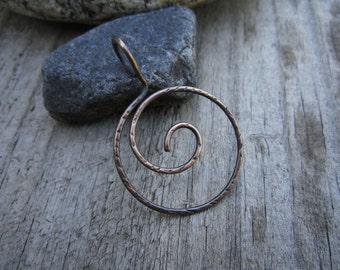 Textured Bronze Whirlpool Charm Holder - Ring Holder Pendant - Free Form Wire Work