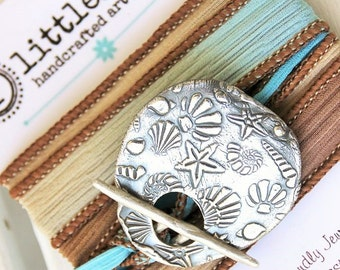 Beach Jewelry, Nautical She Sells Sea Shells Artisan Silk Wrap