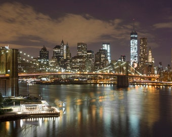 NYC Skyline Photograph - New York City Night - Landscape Print - Brooklyn Bridge, World Trade Center, Manhattan, New York Panorama
