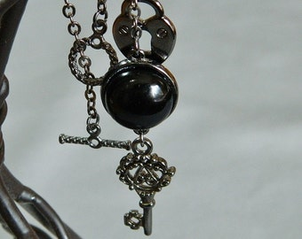 For Safe Keeping ~ Black Onyx Gemstone Jewelry Set, Protection, Lock and Key, Gunmetal, Pendant Necklace and Earrings