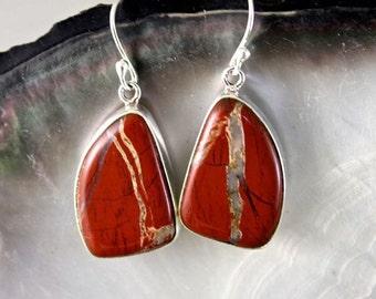 Silver Jasper red certi earrings