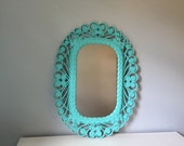FREE SHIPPING! Vintage wall mirror painted in teal, large mirror