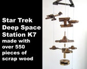 Star Trek Deep Space Station K7 with Starship Enterprise and 2 Klingon Birds of Prey – made from over 550 pieces of scrap wood