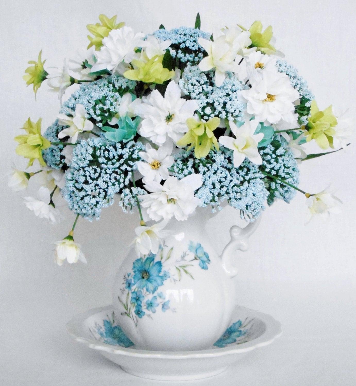 artificial flower arrangement blue fanciful flowers white. Black Bedroom Furniture Sets. Home Design Ideas