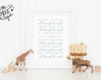 INSTANT DOWNLOAD, All Through the Night, Folk Song, Lyrics, Nursery Art, No. 576