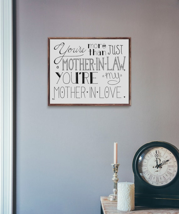 Mother In Law Gift, Love Quote, Mother's Day Gift, Quotation Art, Mother's Day, Mom Quote