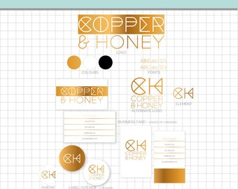 LOGO BRANDING Set - Copper Honey - Business Card, 2 logos, 2 Sticker, Avatar, Element & More