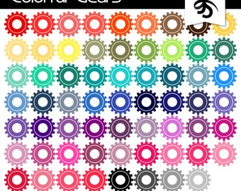 Digital Clipart-63 Colorful Gears-Gear Clipart-Digital Scrapbook Elements-Rainbow Colors-Thinking-Mind-Instant Download Clip Art