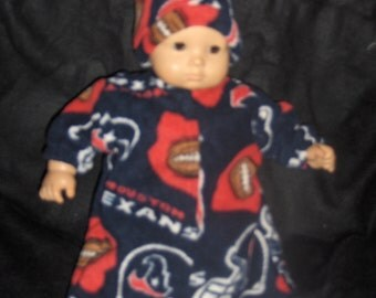 Texans Fleece Football Bunting with Hat Doll Clothes Made to Fit Bitty Baby Boy and Other 15 inch Dolls
