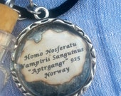 """Norse Vampire tooth in a bottle necklace with collection date and info in attached pendant - """"Aptrgangr"""" 925 Norway"""