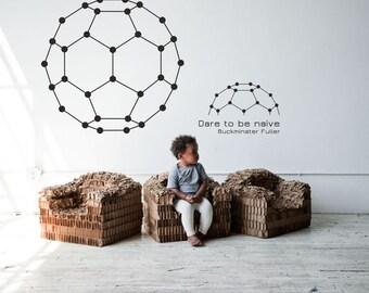 Science art - Buckminster Fuller quote 'Dare to be naive' plus fullerene carbon molecule vinyl wall decal