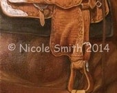 Equine Art Nicole Smith Artist Horse oil painting Western Show Saddle Original Decor