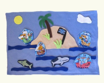 Felt Pirate Island Play mat game, Roll Up Playmat Travel Toy