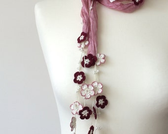 Pink Silk  Foulard, Beaded Necklace, Silk Wrap Scarf, Silk Necklace,  Crochet Necklace, Beadwork, Skinny Scarf, Gift For Her, ReddApple
