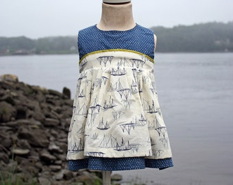 Girls, Toddlers, Babies, Nautical Ship Dress with Contrasting Heart Fabric