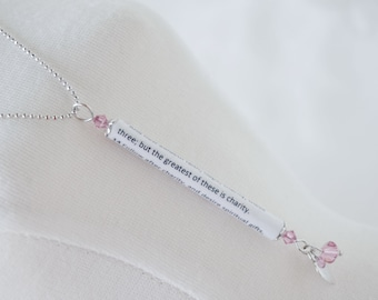 1 Corinthians 13 - Faith Hope Love - Scripture Necklace - Heart and Pink Crystals