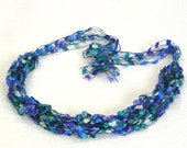 Peacock Colors Ladder Yarn Necklace, Ribbon Necklace, Handmade Fiber Necklace, Crochet Choker, Lariat Necklace