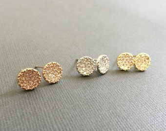 Circle studs earrings, CZ Disc earrings, sutds earrings, gold and silver dainty earrings, studs earring, muse411, gift for her