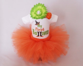 Babys First Halloween Outfit  - My First Halloween - Girls Halloween Tutu Bodysuit and Headband Set - First Halloween Outfit - *HW1502