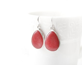 Matte Silver Plated Red Jade Drop Earrings