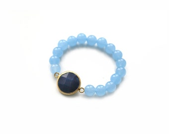 Dark Blue Jade Connector with Light Blue Jade Beads Elastic Bracelet