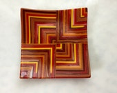 Fused Glass Pattern Bar Dish, Red Orange Yellow Brown Art Glass Plate