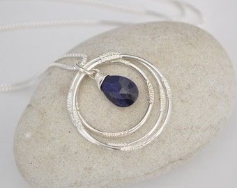 Blue sapphire necklace, 30th birthday Gift for Her, 30th birthday gift for Women, Sapphire necklace,Gift for Best Friend, Sister Jewelry