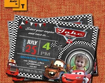 cars invitation, disney cars Invitation, lightning mcqueen birthday invitation, Mcqueen birthday Invitation, radiator spring, cars T-11