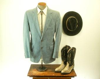 1970s Blue Gray Ultrasuede Suit Jacket Mens Vintage Disco Era Ultrasuede Blazer / Sport Coat Made in U.S.A. by Rader's - Size 40 (MEDIUM)