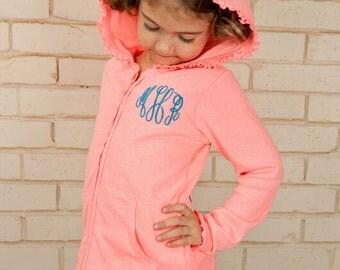 Monogrammed Ruffled Jacket - Ruffled Hoodie - Girls Zip Hoodie - Monogrammed Gift- Monogrammed Hoodie - Personalized Jacket - Fall Clothing