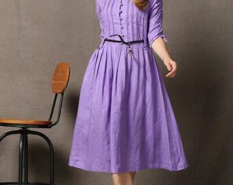 Maxi dress Elegant  Purple Lovely Linen Dress  C568