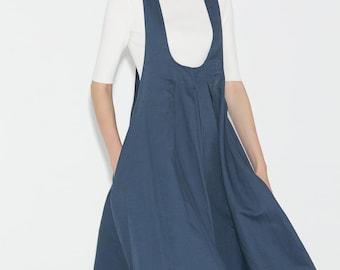 Pinafore Dress, linen apron dress, dress, pinafore dress woman, womens dresses, linen dress, linen pinafore dress, womens apron dress C693