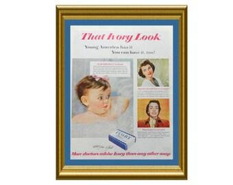 Bath Baby Wall Art - Ivory Soap Ad - Vintage Decor for Bathroom Or Nursery
