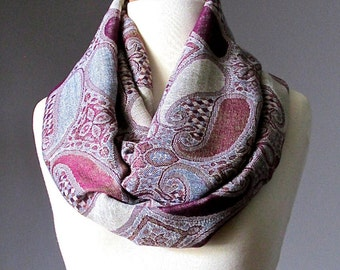 Women's eggplant and gray infinity scarf, paisley scarf, exotic scarf
