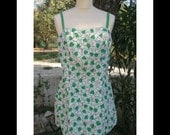 SALE-1950s Pinup style shorts set, 2 piece, white with green leaves / pink ladybugs, bathing suit style, made in U.S.A., egst, Greece