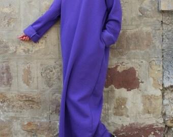 Purple Maxi dress, Fall Winter dress, Plus size dress, Caftan, Turtleneck Dress, Oversized dress,  Sporty dress, Long dress, Casual dress