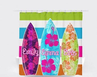 Beach Shower Curtain - Surf Shower Curtain - Girls Bathroom decor - Hawaiian Shower Curtain Monogramed or Personalzied