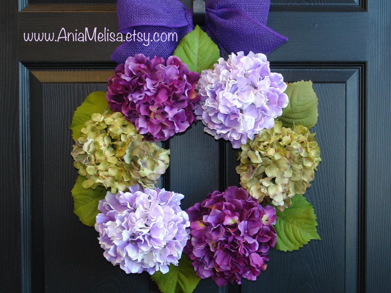 spring wreaths front door wreaths purple hydrangea front door. Black Bedroom Furniture Sets. Home Design Ideas