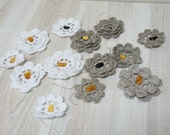 13 flowers linen with amber white gray ecru crochet Flower Rose evening supply lady women gift for her lot set bulk of 12 flax party favor