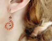 Coral Earrings, Wire Wrapped Jewelry Handmade, Beaded Dangle Earrings, Boho Dangle, Coral Jewelry