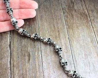 Silver skull mens bracelet, rock punk skull link bracelets skull linked bracelet, Biker rocker bracelet, Steampunk Goth