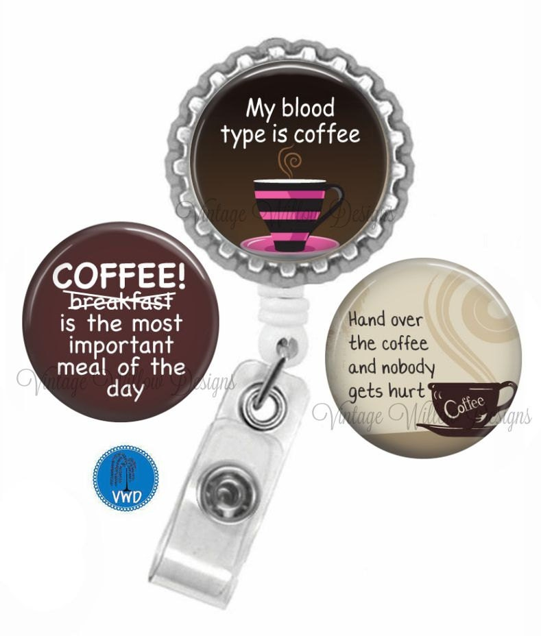 coffee c1 retractable id badge reel with 3 charm magnets. Black Bedroom Furniture Sets. Home Design Ideas