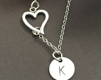 Personalize necklace -  hand stamped name initial necklace - lariat necklace heart necklace